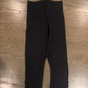 Lululemon Black crops with side mesh detailing